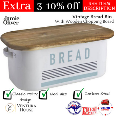 Jamie Oliver Vintage Bread Bin With Wooden Chopping Board / Lid Loaf Storage NEW