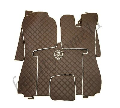RIGHT HAND DRIVE Floor Mats For SCANIA R STREAMLINE 2014+ BROWN Eco Leather.