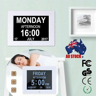 "8"" LED Dementia Digital Calendar Day Clock Extra Large Time Day/Week/Month/Year"