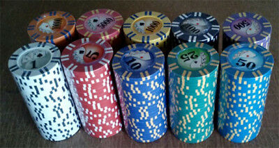 100 poker chips 2 stripe twist choice of 10 denominations