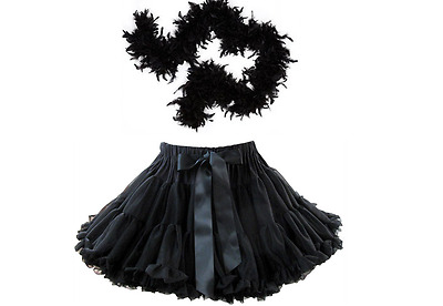 85G Black Luxury Feather Boa & Thick LUXURY TUTU Sexy Hot Burlesque 20's Dressup