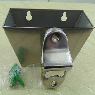 stainless steel Wall Mount Beer Bottle opener bottle Cap Catcher box + Screws