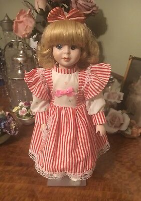 Pretty Little Girl Vintage Blonde Hair Ceramic Bisque Doll 30cm Red & White Dres