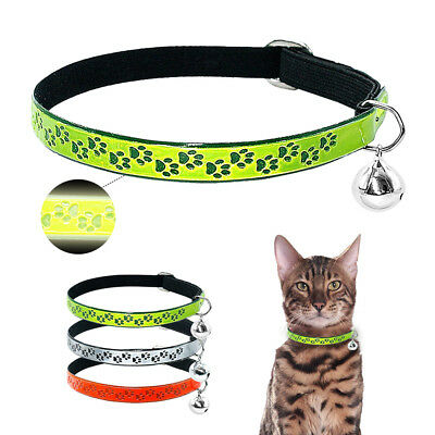 """Reflective Cat Collar with Engraved Tags Fluorescent Elastic for Kitten Neck 12"""""""