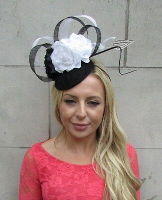 Black White Rose Flower Pillbox Feather Hat Hair Fascinator Races Wedding 6243