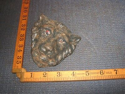 Vintage Antique Cast Iron Lion Jaguar Cat Head Bolt On Ornamental Garden Figure