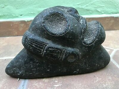 Taino Pre Columbian Black Stone Macorix Head Figure UNIQUE Antique