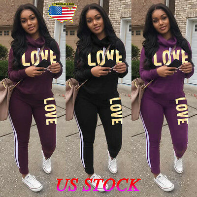 1de453bee1cea Women 2PCS Tracksuits Striped Sport Lounge Wear Ladies Tops Suit Love  Jumpsuit