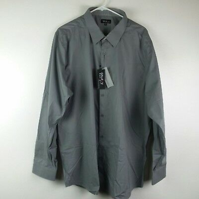 Galaxy by Harvic Mens Shirt 2XL Gray Flip Cuffs Slim Fit Casual New
