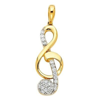 Real Solid Cubic Zirconia Four Heart Charm Pendant 14K Yellow Gold 15mmX15mm 1gm