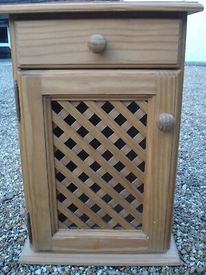 Attractive pine bedside cupboard and drawer in good condition