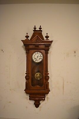 Antique German Vienna Regulator Carved Wall Clock Circa 1900 Clean And Running