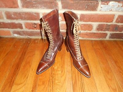 Antique Women's High Top Leather Brown Boots 1900 Victorian