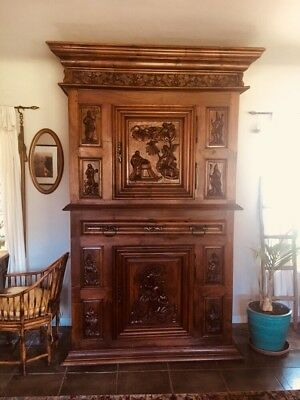 17th Century French Oak Provincial Armoire Tall. Hand carved