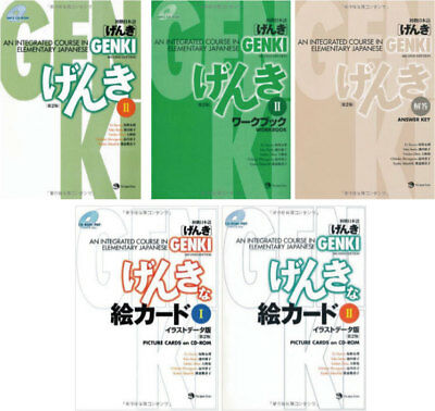 3-7 Days to USA GENKI 2 5Set Integrated Course Elementary Japanese Work And Text