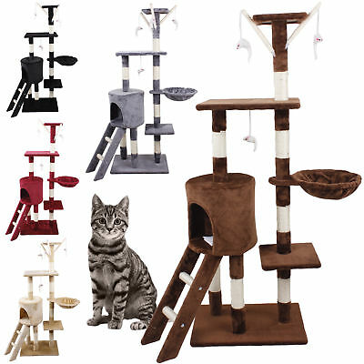 Cat Tree Activity Centre Scratcher Scratching Post House With Toys Bed 3 Levels