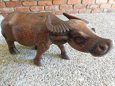 Beautiful Hand Carved Wooden Water Buffalo Sculpture