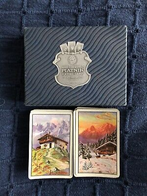 1950s Boxed Piatnik Vintage Playing Cards - Alpine Scenery - B/209 complete