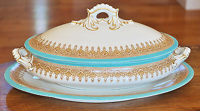 Lovely Antique Royal Worcester Turquoise Covered Bowl & Underplate W3277 1912