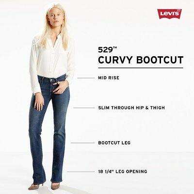 NWT Women Levi's 529 Curvy Bootcut Jeans 4 Colors Fast Priority Ship
