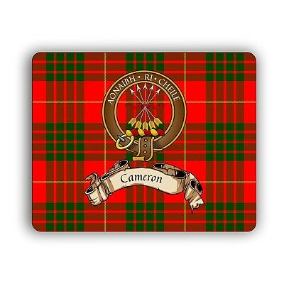 Cameron Scottish Clan Tartan Mouse Pad with Crest and Motto