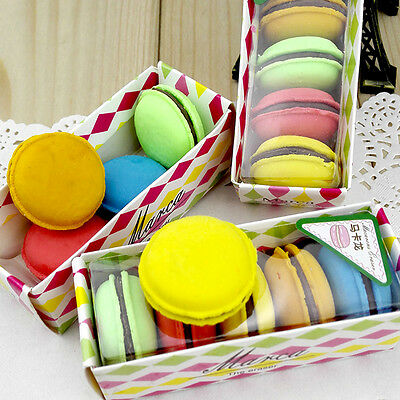 5Quality Macarons Soft Erasers Stationery Office School Pencil Rubber Hot Sale