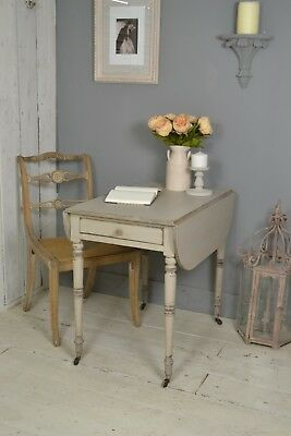 Antique Grey Shabby Chic Drop-Leaf Pembroke Table / Desk / Small Dining Table