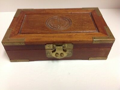 VINTAGE WOOD BRASS ASIAN  Chinese BOX