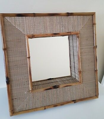 Vintage Retro look WICKER Bamboo Cane SQUARE 3D Wall Mirror