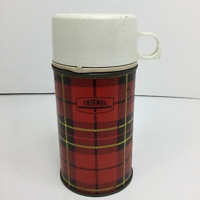 Vintage 1964 King-Seeley Thermos Red Brown Plaid Bottle No. 2842 Half Pint Size