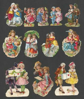 H57 - Assorted Romantic Couples - Diecut Victorian Scraps - Alte Oblaten