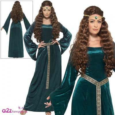 Ladies Medieval Maid Costume Adults Robin Hood Marion Womens Fancy Dress Outfit