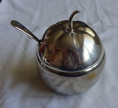 """Vintage Silver Plated Apple Shape Preserve Pot With Spoon Height 4.5"""" X 3.5"""""""