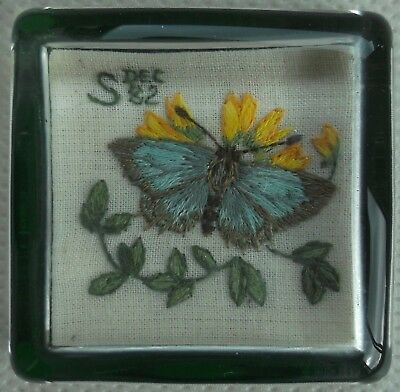Vintage Glass Paperweight Blue Butterfly Yellow Flower 1982 Embroidery 6 cm Sq