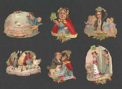H69 - Unusual Comical Christmas Diecut Victorian Scraps - Alte Oblaten