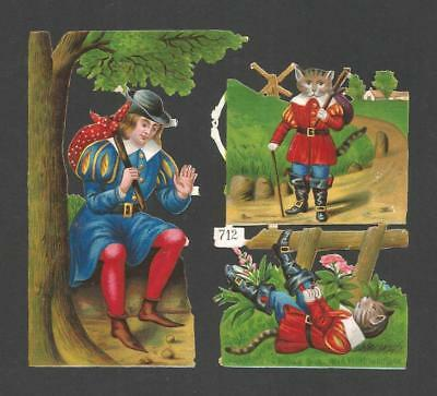 H70 - Dick Whittington And His Cat - Diecut Victorian Scraps - Alte Oblaten