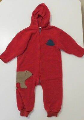 L.L.Bean Red Christmas Fleece Snowsuit Snow Suit Size 2T