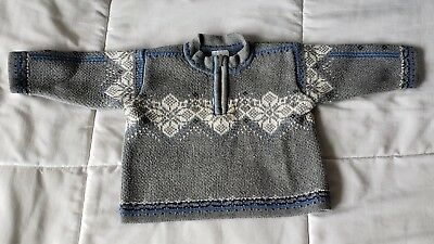 Hanna Anderson 70  Boy's Sweater 6/12 Month Nordic Gray Blue Half Zip Long Sleev