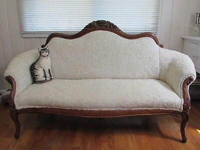 Antique Vintage Victorian Loveseat / Sofa / Settee / Couch w/ carved Walnut Wood