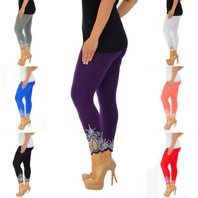 Women's Cropped 3/4 Length Soft Cotton Leggings Lace Active Yoga Pants Plus Size