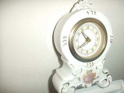 Antique Dresden West German China Alarm Clock Cream and Gold