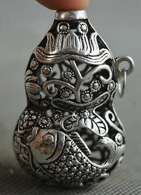 China Collectable Handwork Miao SIlver Carve Goldfish Lotus Gourd Pendant Gift