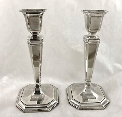 """Vintage Tiffany & Co. Sterling Silver Octagonal Shape Candlesticks 7.5"""" PAIR"""