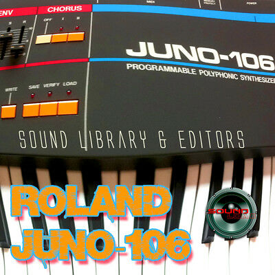 for ROLAND Juno-106 Original Factory & NEW Created Sound Library & Editors on CD