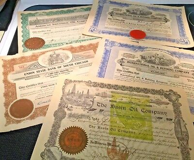 Vintage obsolete stock certificates from 1903-1919