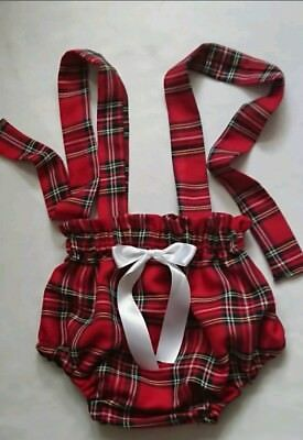 Beautiful Tartan Print Baby's Bloomer with straps girls clothes New