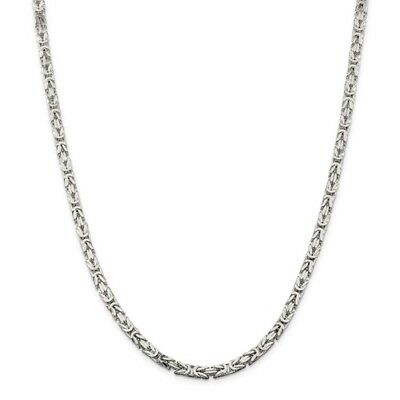 Sterling Silver 24in 4.25mm Byzantine Necklace Chain. Metal Wt-56.82g