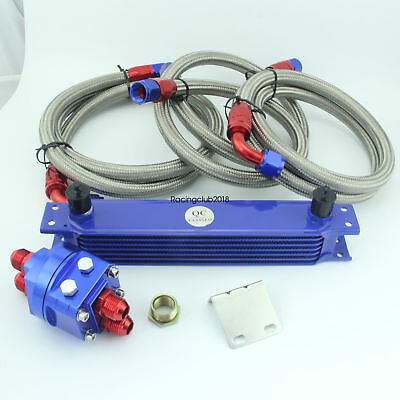 7 Row AN10 Engine Oil Cooler+ 3/4*16 & M20 Filter Relocation Adapter Kit Blue