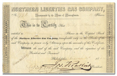 Northern Liberties Gas Company Stock Certificate (1852)