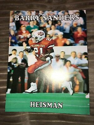 Barry Sanders Heisman Poster (8.5x11- Two-sided) Stats And Records on Back
